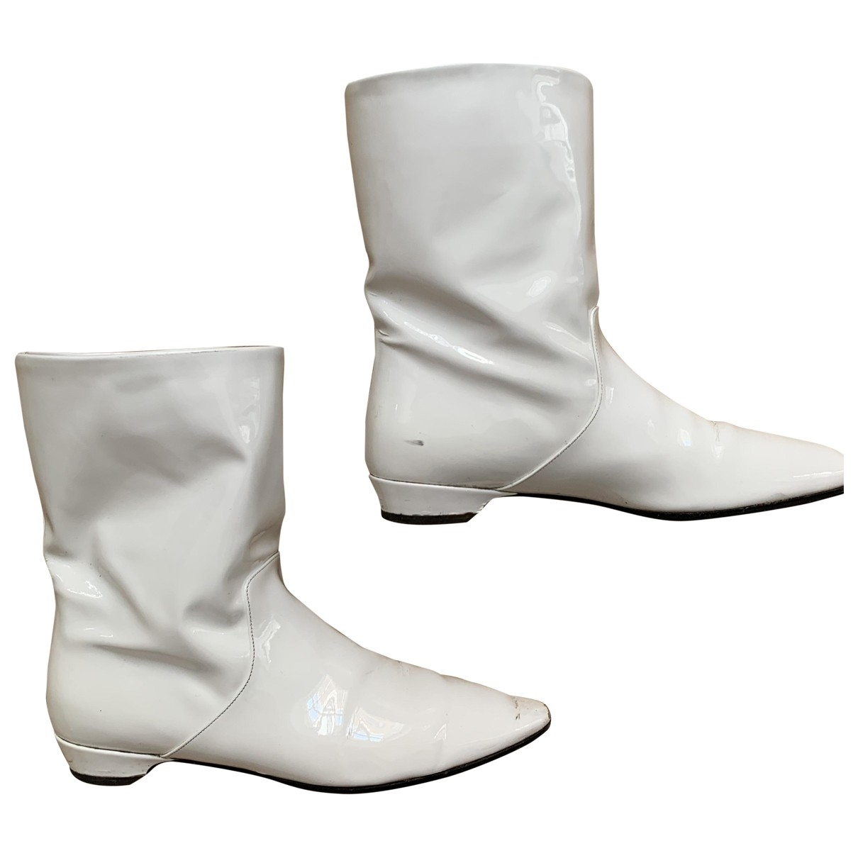 Miu Miu \N White Patent leather Boots for Women 39 EU