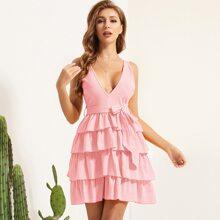Pink Reissverschluss  Einfarbig Bohmisch Kleider