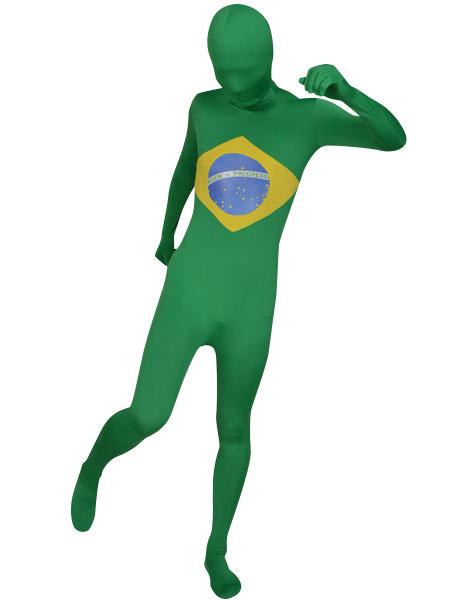 Milanoo Disfraz Halloween Zentai de elastano de marca LYCRA con estampado de bandera nacional de Brasil  Halloween