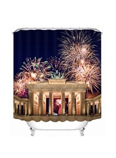Shining Fireworks at Night 3D Printed Bathroom Waterproof Shower Curtain