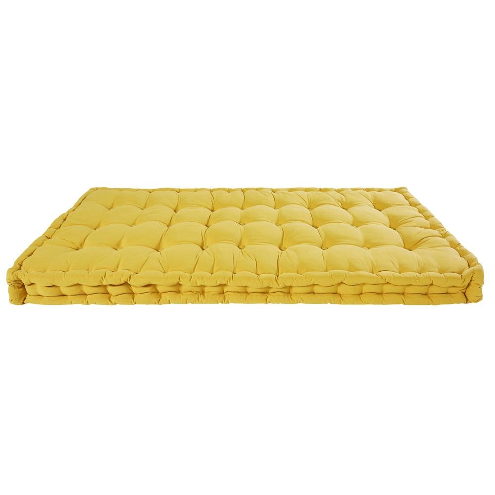 Matratze aus senffarbener Baumwolle 90x190