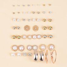 26 Paare Ohrringe mit Kunstperlen Dekor