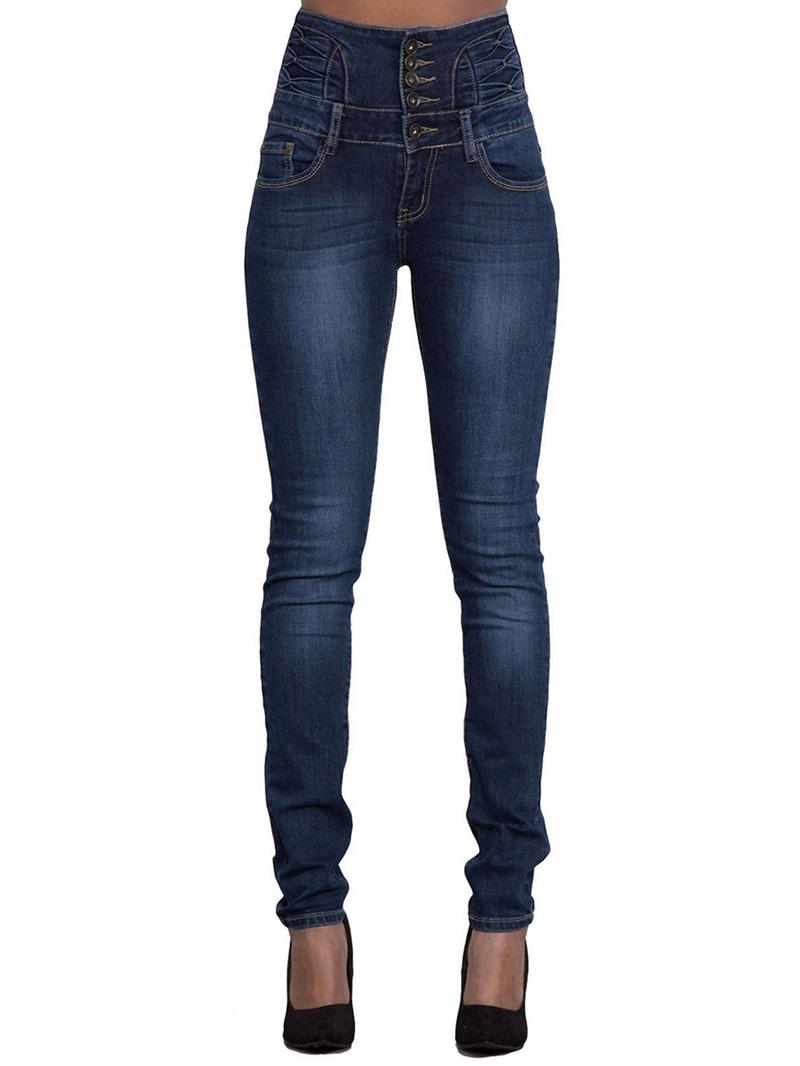 Ericdress Pocket Plain High-Waist Button Skinny Women's Jeans
