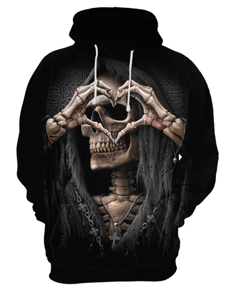 Causal Style Skull Long Sleeve Polyester Halloween 3D Painted Hoodie