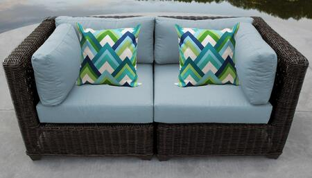 Venice Collection VENICE-02a-SPA 2-Piece Patio Wicker Loveseat with 2x Corner Chairs - Wheat and Spa