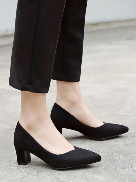Milanoo Mid-Low Heels For Women Pink Comfortable Pointed Toe Chunky Heels Suede Slip-on Pumps