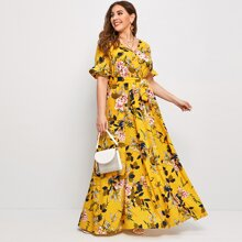 Plus Flounce Sleeve Belted Floral Print Dress