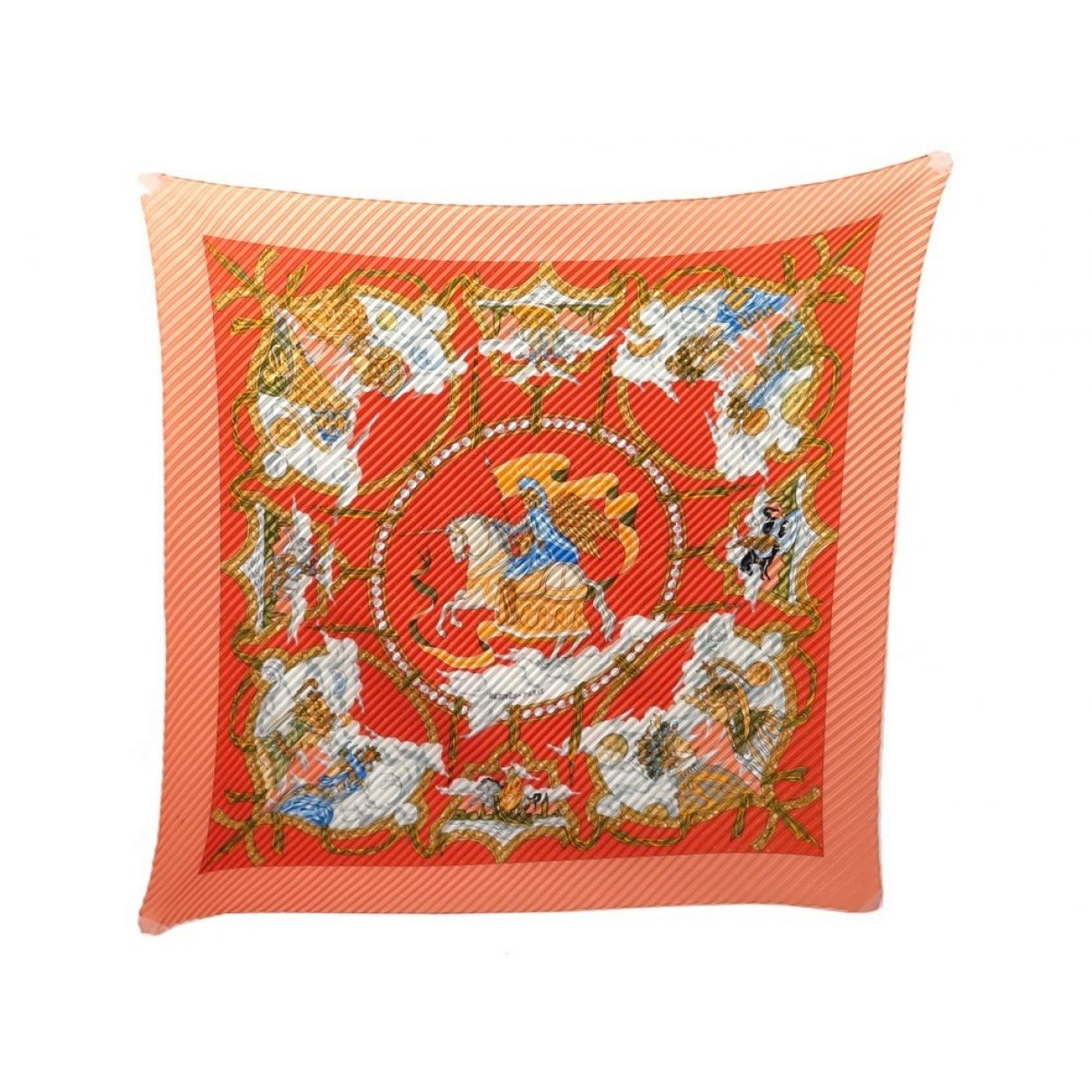 Hermes - Carre Plisse pour femme en soie - orange