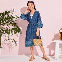 Girls Geo Print Belted Kimono