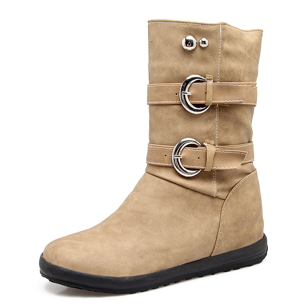 Large Size Double Buckle Warm Lining Mid-calf Boots For Women