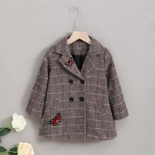 Toddler Girls Butterfly Patched Double Breasted Plaid Overcoat