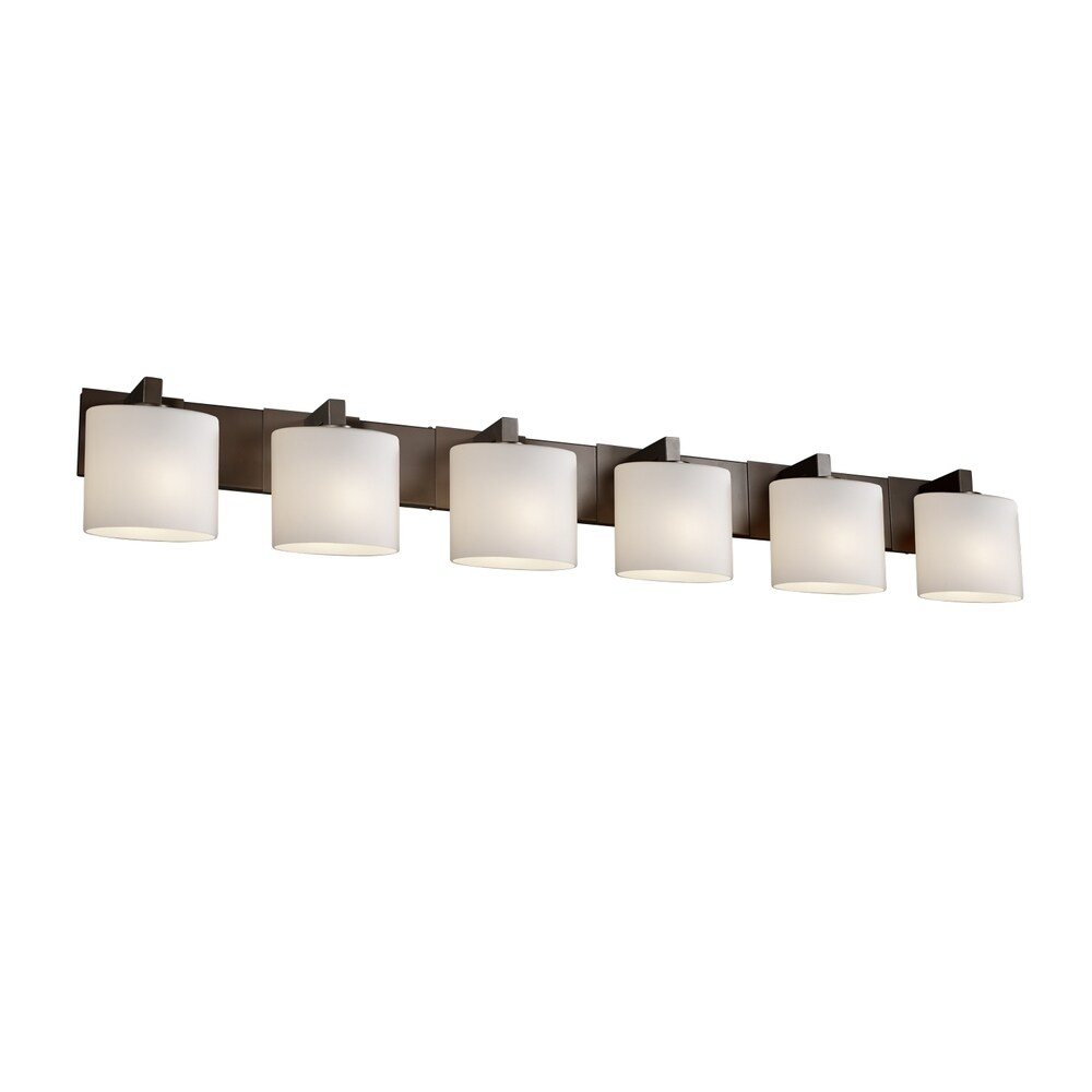 Justice Design Fusion Modular 6-light Dark Bronze Bath Bar, Opal Oval Shade (Dark Bronze, Opal)