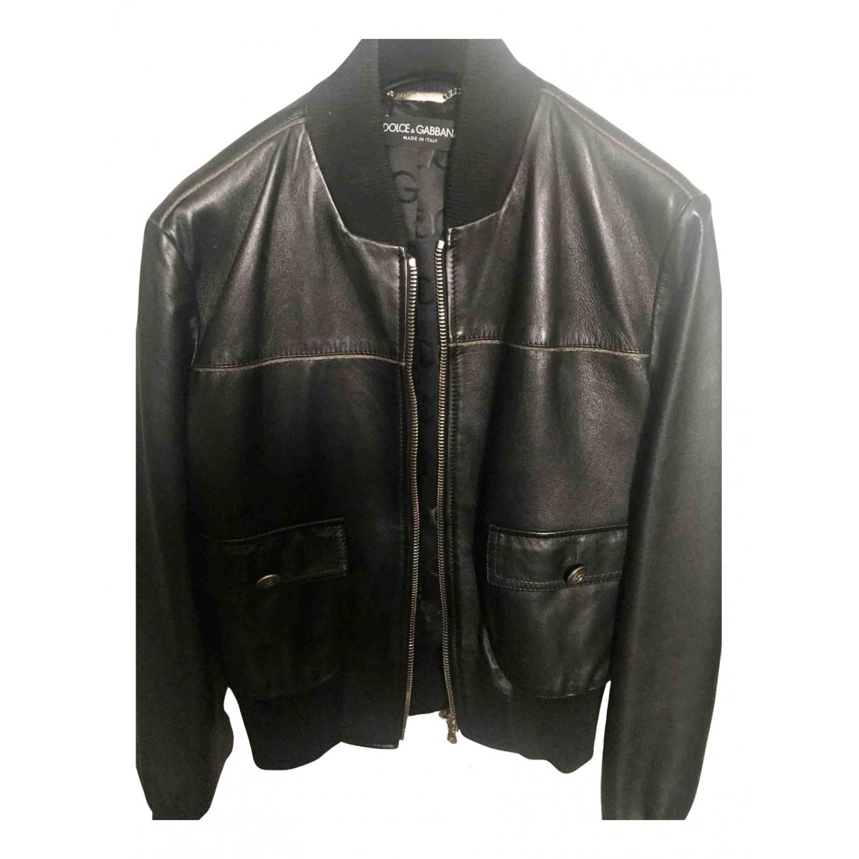 Dolce & Gabbana - Veste   pour femme en cuir - noir
