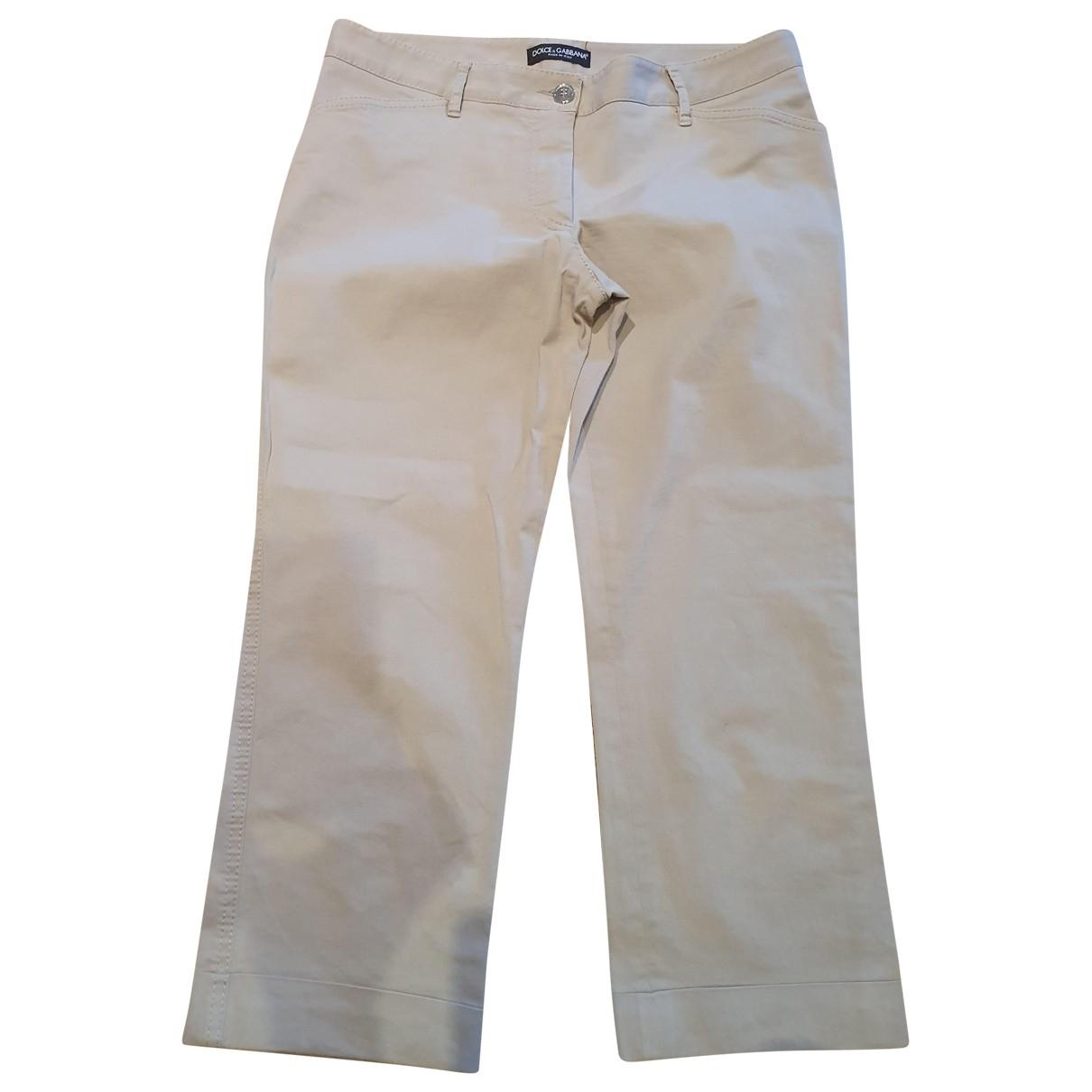 Dolce & Gabbana \N Beige Cotton Trousers for Women 44 IT
