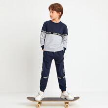 Zweifarbiger Pullover mit Buchstaben Muster & Jogginghose Set