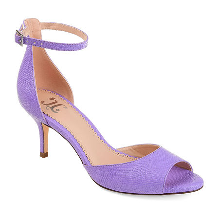 Journee Collection Womens Narelle Buckle Open Toe Kitten Heel Pumps, 8 1/2 Medium, Purple