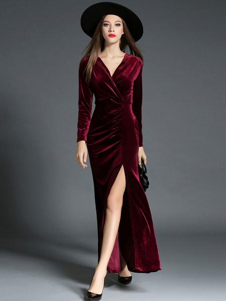 Milanoo Maxi Dress Burgundy Velvet Long Sleeve Warp Dresses Front Slit Party Dresses