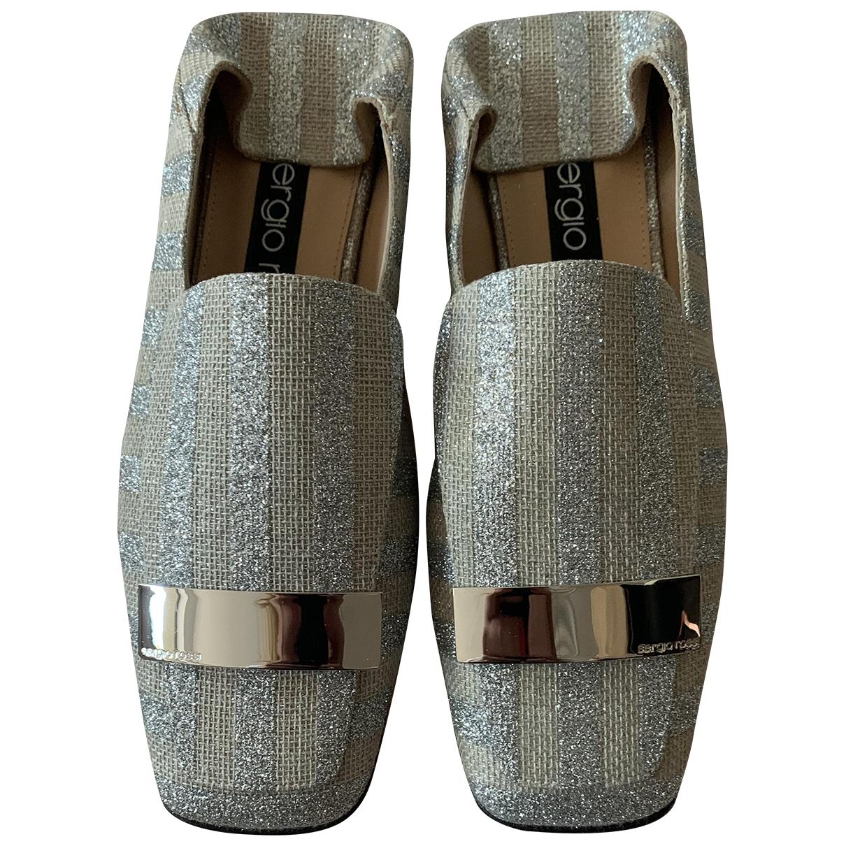 Sergio Rossi SR1 Silver Cloth Flats for Women 36.5 EU
