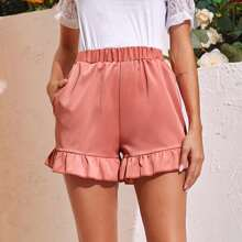 Ruffle Hem Side Pocket Solid Shorts