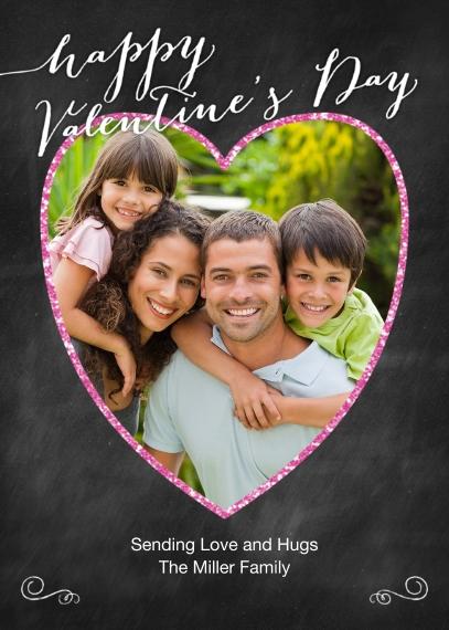 Valentine's Cards 5x7 Folded Cards, Standard Cardstock 85lb, Card & Stationery -Valentine Glitter Heart Photo