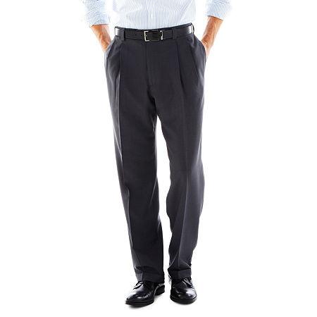 Haggar eCLo Stria Classic-Fit Pleated Dress Pants, 38 30, Gray