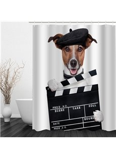 3D Dog Printed Polyester Waterproof Antibacterial Eco-friendly Shower Curtain
