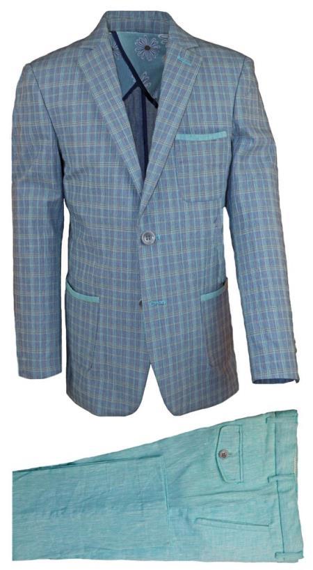 Mens Notch Lapel Gray Linen Tonal Suit And Pant