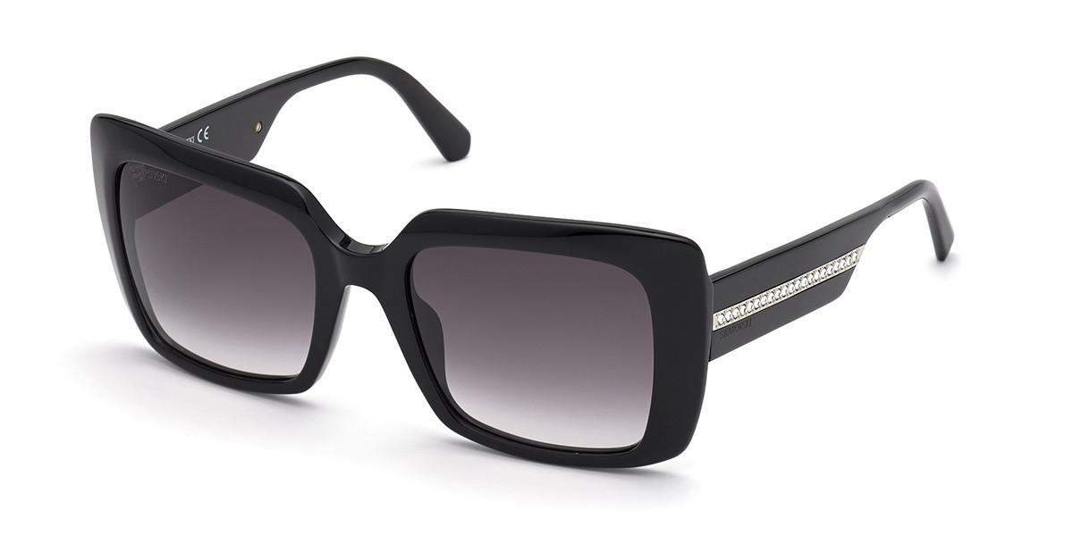 Swarovski SK0304 01B Women's Sunglasses Black Size 54