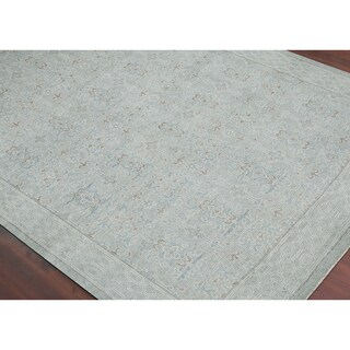 Bethel Hand-Knotted Classic Floral Wool Blend Area Rug (Light Blue 2' x 3')
