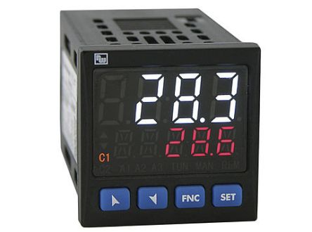 Wachendorff UR4848xA PID Temperature Controller, 48 x 48mm 2 Input, 2 Output Analogue, Relay, SSR, 24 V ac/dc Supply