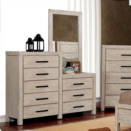 Strasburg Collection CM7382WH-CM 8-Drawer Dresser Mirror In Wire-Brushed