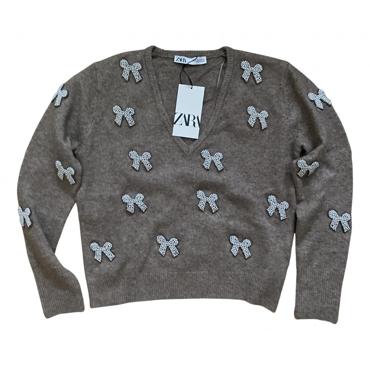 Zara - Pull   pour femme en laine - marron