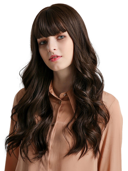 Milanoo Long Wig Woman Blunt Bangs Heat Resistant Fiber Synthetic Wigs