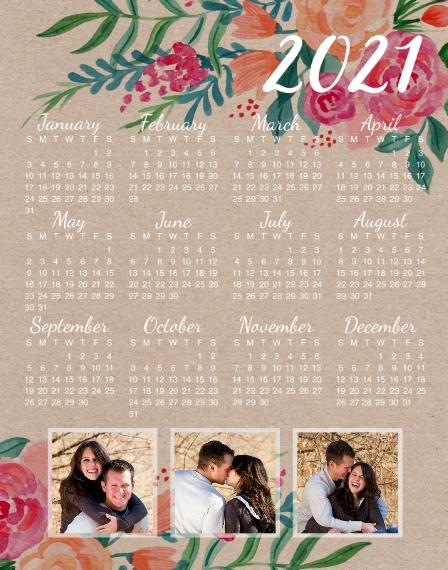 Calendar 11x14 Poster, Home Décor -2021 Rustic Calendar