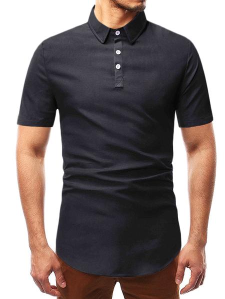 Yoins Men Summer Casual Plain Button Front Black Polos