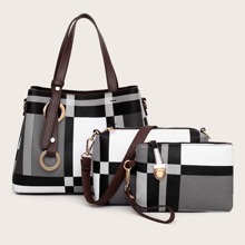 3pcs Plaid Tote Bag With Crossbody Bag