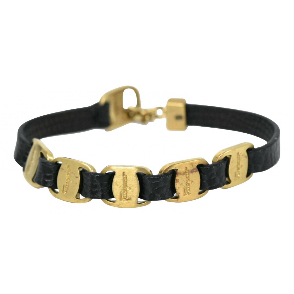 Salvatore Ferragamo - Bracelet   pour femme en cuir - noir
