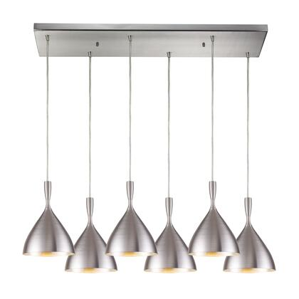 17042/6RC-ALM Spun Aluminum 6 Light Pendant in Satin