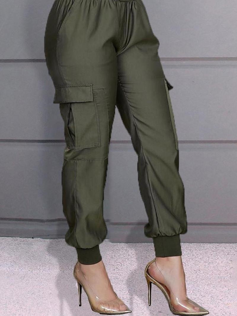 Ericdress Plain Pocket Slim Mid Waist Full Length Casual Pants