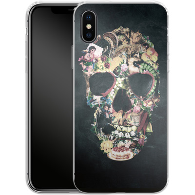 Apple iPhone X Silikon Handyhuelle - Vintage Skull von Ali Gulec