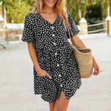 Kleid mit Knopfen vorn und Dalmatiner Muster