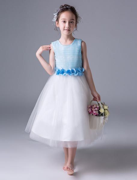 Milanoo Vestido de niña de las flores azules Vestido del desfile de la princesa Vestidos de fiesta formales del arco de la cinta sin mangas de los niñ