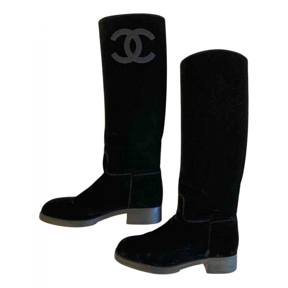 Chanel N Black Velvet Boots for Women 39 EU