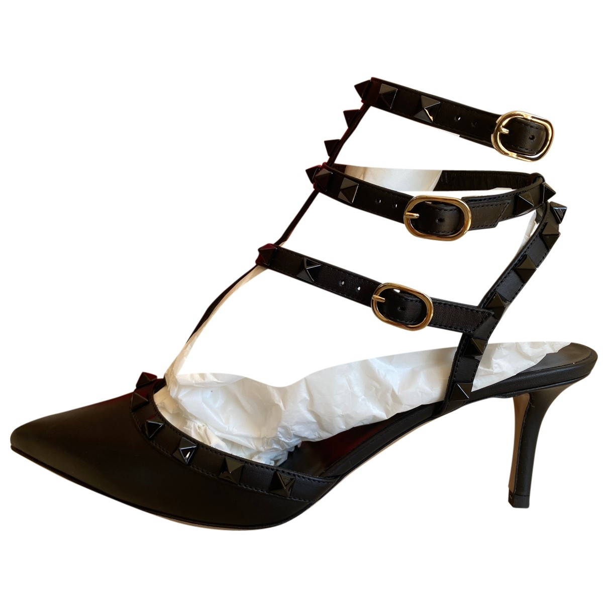 Valentino Garavani \N Black Leather Heels for Women 39 EU