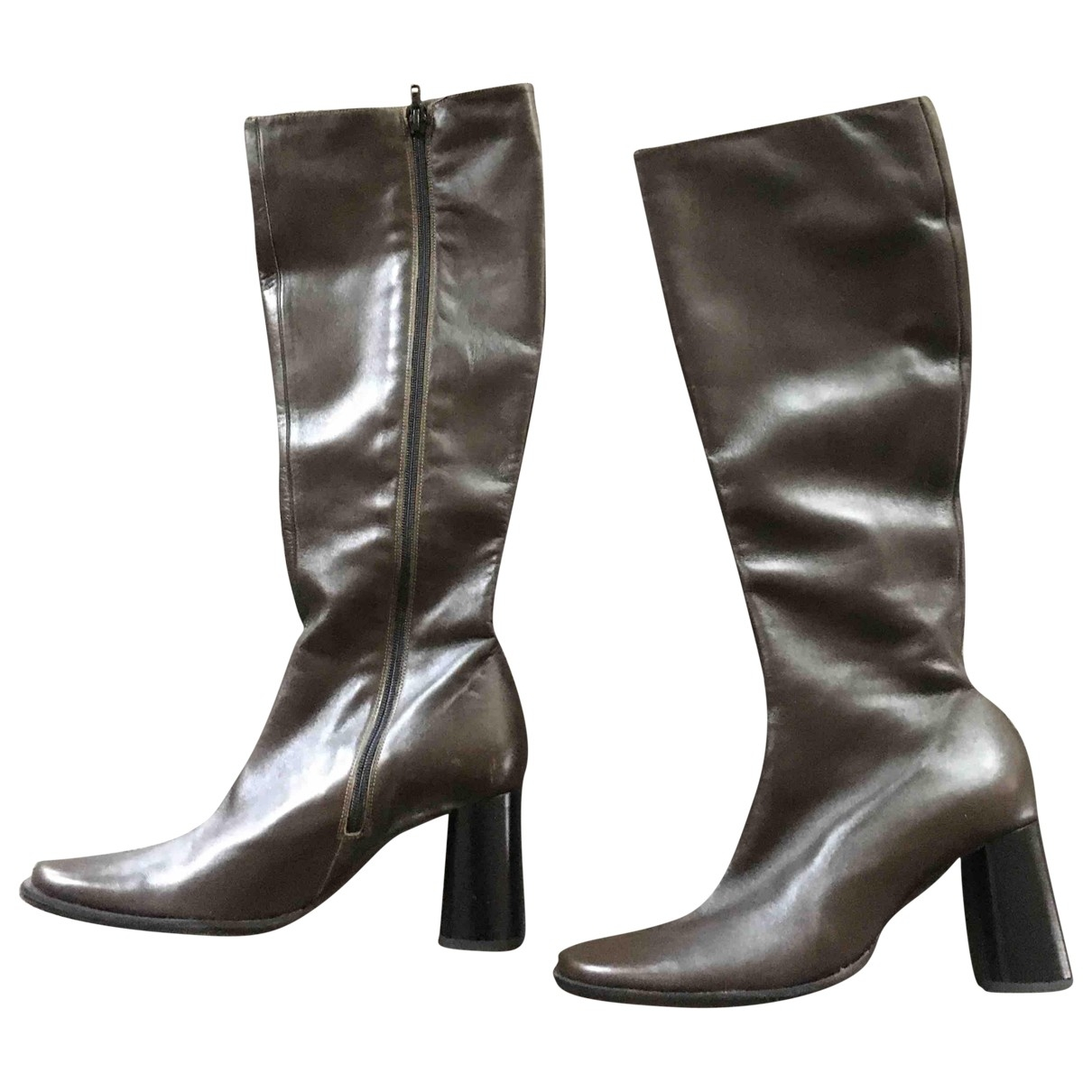 Kenzo - Bottes   pour femme en cuir - kaki