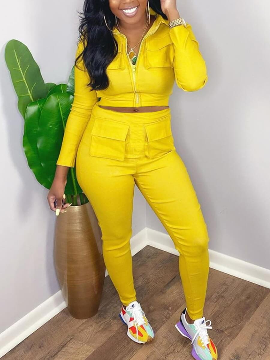 LW Lovely Casual Turndown Collar Pocket Patched Yellow Two Piece Pants Set