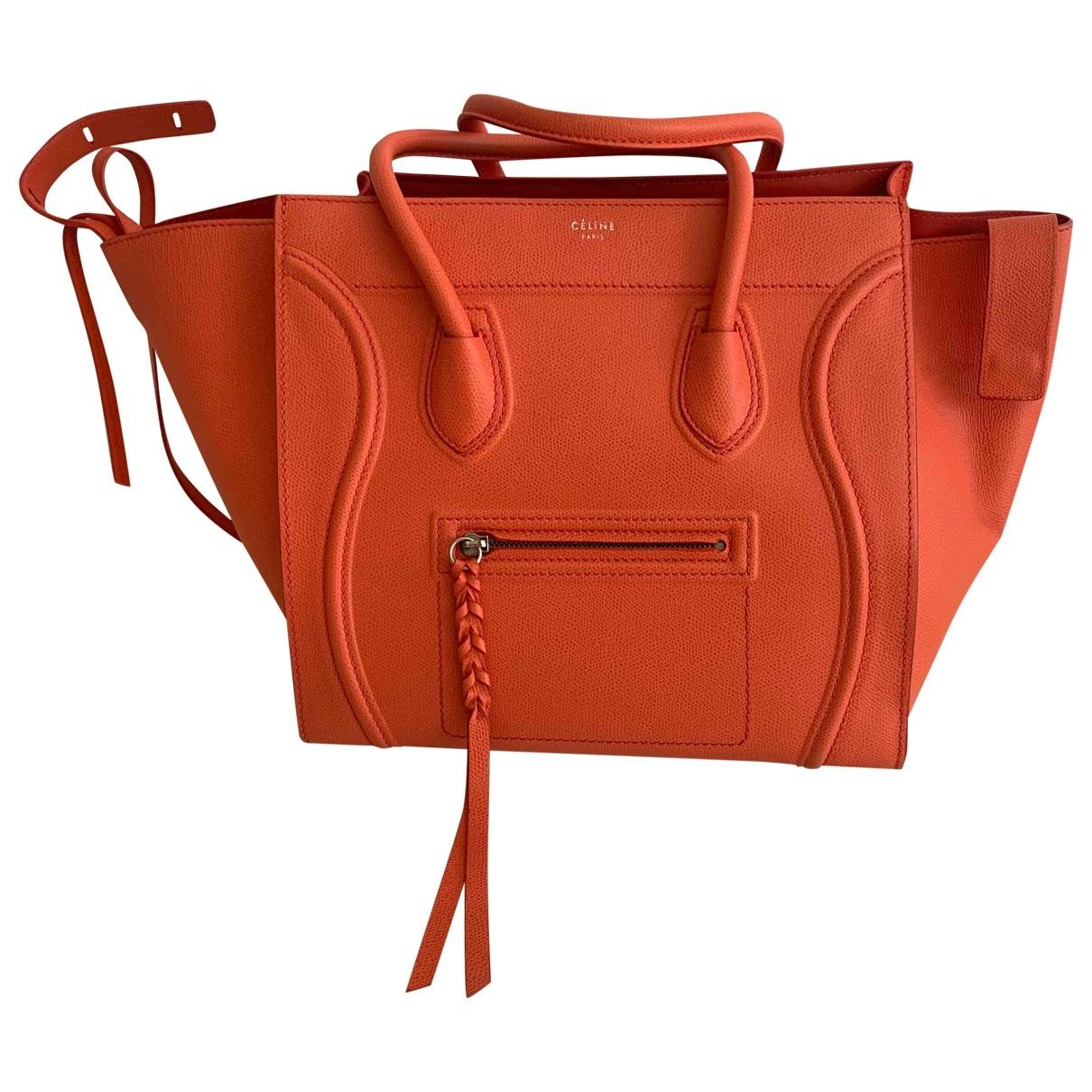 Celine Luggage Phantom Orange Leather handbag for Women \N