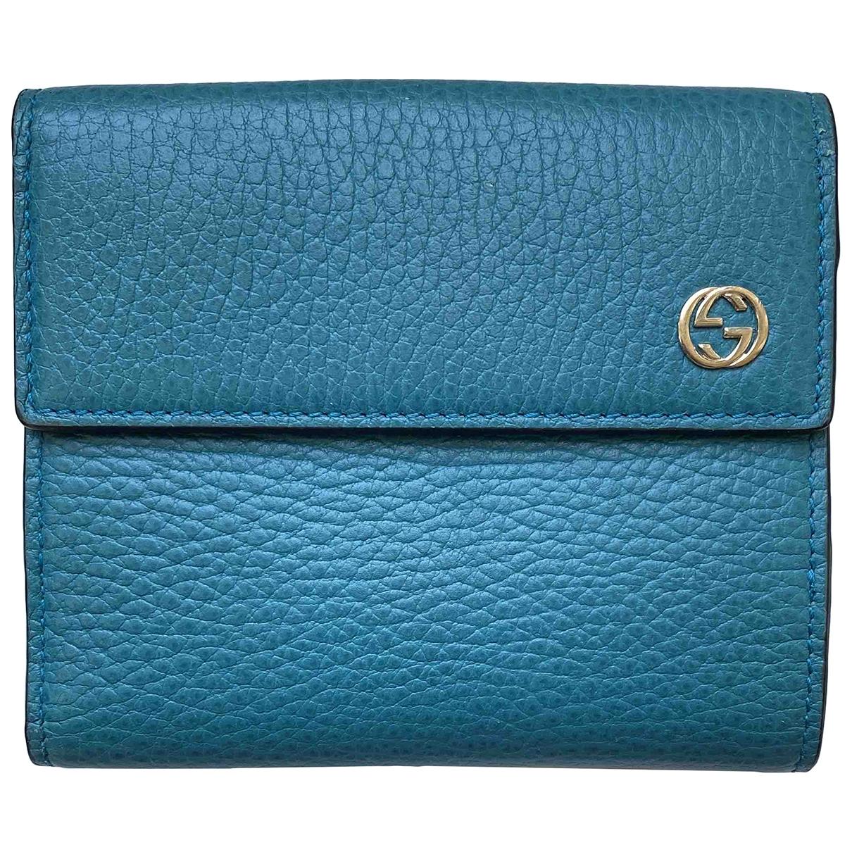 Gucci - Portefeuille   pour femme en cuir - turquoise