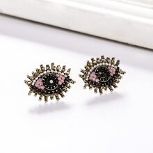 Rhinestone Decor Eye Design Stud Earrings