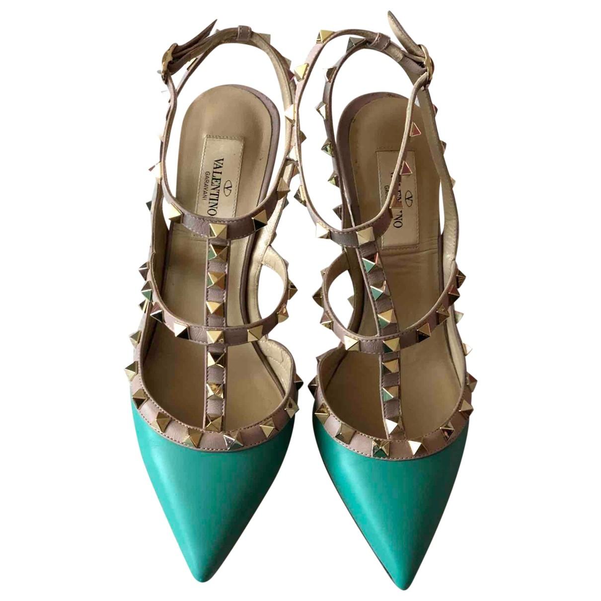 Valentino Garavani - Escarpins Rockstud pour femme en cuir - turquoise